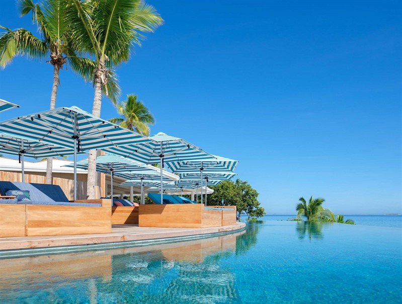 Malamala Beach Club Fiji Island Endless Pool Clear Skies