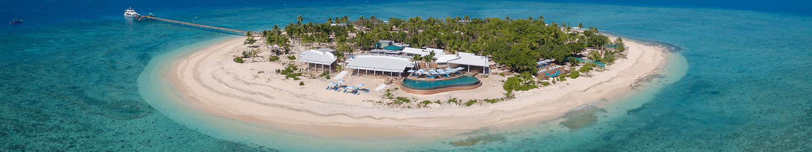 Malamala Beach Club Fiji Island Front Aerial View Header