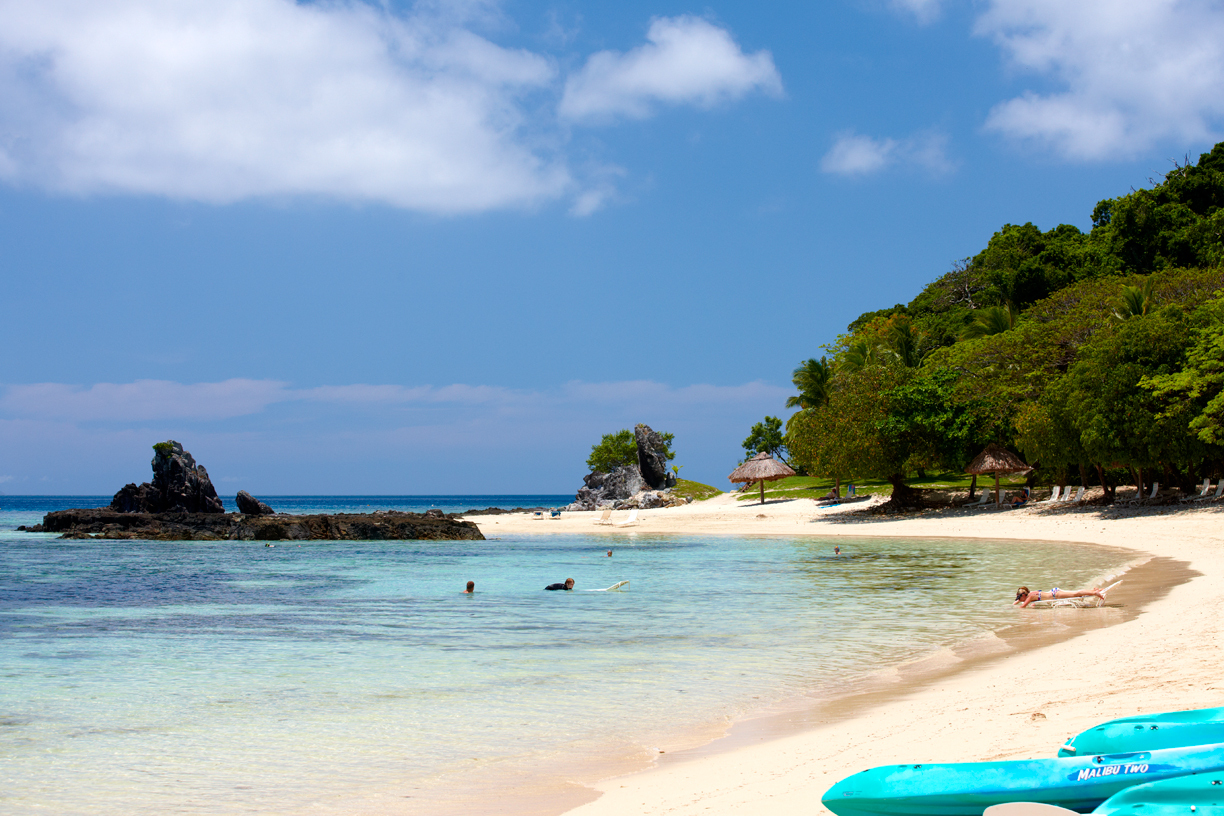 One of the white sand beaches at Castaway