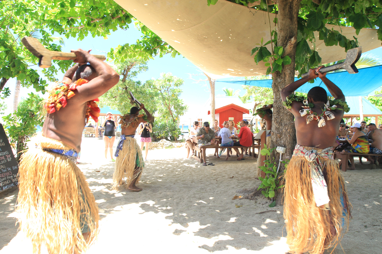 Traditional meke performance on South Sea Island