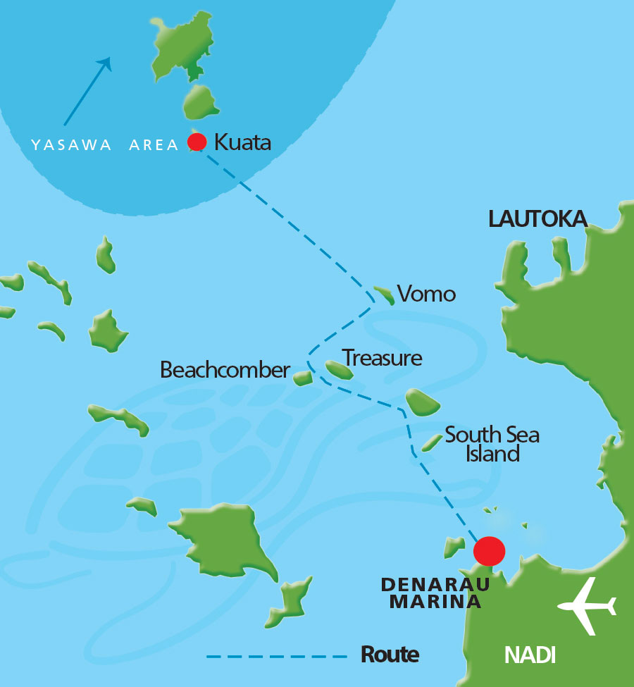 Barefoot Kuata Cruise Map