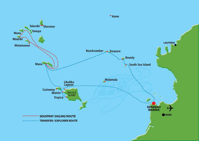 Fiji island day cruises explore fiji with south sea cruises view cruise map gumiabroncs Images